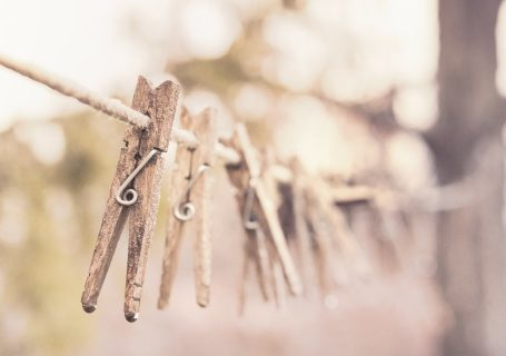 clothes pins on a clothes line